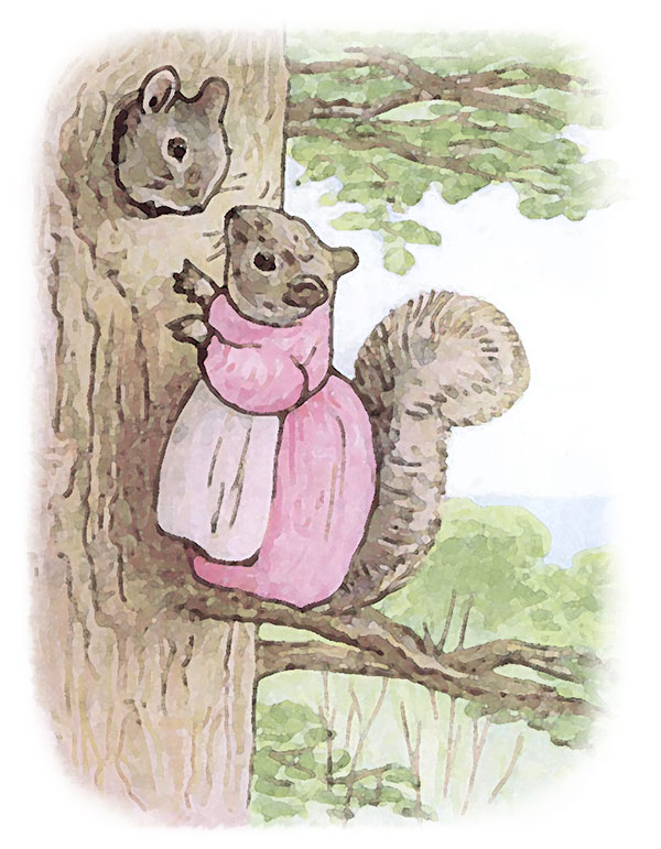 Image from one of Beatrix Potter's illustrated books; The Tale of Timmy Tiptoes.
